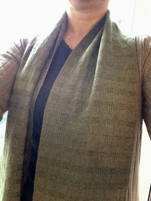 Wearing freshly finished handwoven zephyr and handspun scarf by irieknit